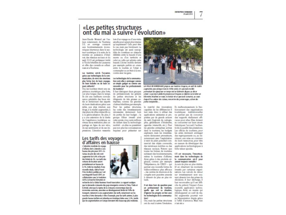 Interview JC Morand - Entreprise Romande 270814