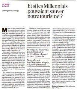 Millenials pouvaient sauver tourisme - Les Echos 7/06/17